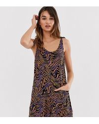 Monki Playsuit With Shoulder Bow Detail In Animal Print - Multicolor