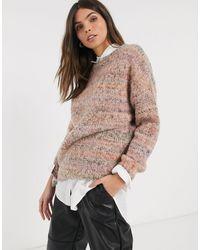 Esprit Pull en maille teint par section - Mauve - Violet