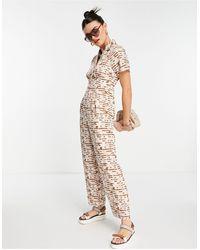 Fashion Union Button Through Jumpsuit With Waist Detail - Multicolour