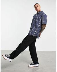 Weekday Dameer Checked Short Sleeve Shirt - Blue