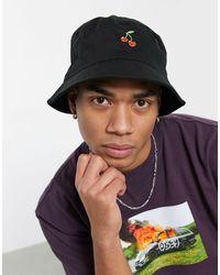 ASOS Bucket Hat Met Kers-borduursel - Zwart