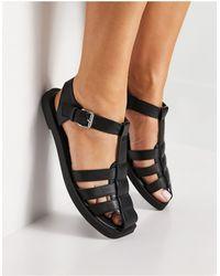 Schuh Luella Caged Flat Shoes - Black