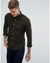 Farah Brewer Slim Fit Oxford Shirt In Green