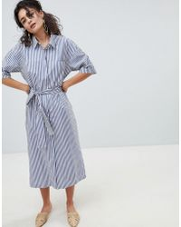 838f55defb Mango - Stripe Midi Shirt Dress In Multi - Lyst