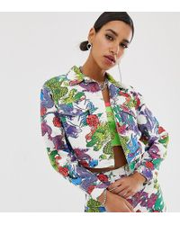 Jaded London - Cropped Oversized Denim Jacket In Dragon Print Two-piece - Lyst