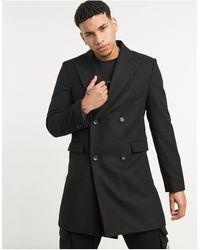 Moss Bros - Черное Двубортное Пальто Moss London-черный Цвет - Lyst