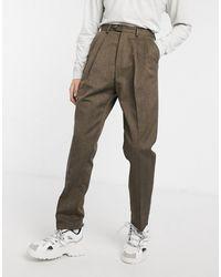 ASOS Pantaloni a vita alta a righe con fondo ampio marroni - Marrone