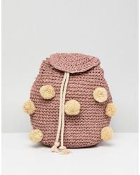 Pull&Bear - Pom Pom Woven Backpack In Pink - Lyst