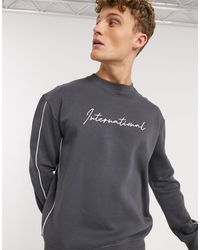 New Look Embroidered Piped Sweat - Grey