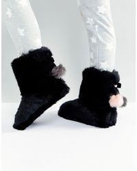 Ted Baker Hamond Faux Fur Bootie Slippers - Black