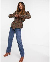 Glamorous Блузка С Запахом И Винтажным Цветочным Принтом -черный - Многоцветный