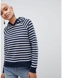 SELECTED Femme Striped Over Head Hoodie - Blue