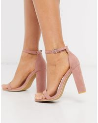 Glamorous Blush Barely There Square Toe Block Heeled Sandals-pink - Multicolour
