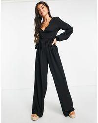 ASOS Bubble Crepe Button Back Long Sleeve Jumpsuit - Black