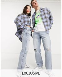 Collusion X000 Unisex Ripped 90s Straight Leg Jeans - Blue