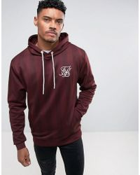 SIKSILK - Track Hoodie In Burgundy With Stripes - Lyst
