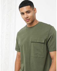 Only & Sons Longline T-shirt With Pocket - Green