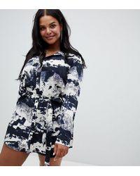17b8c6b6053 Lyst - Love Moschino Cloud Print Short Sleeve Bodycon Dress in Blue