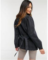 Vero Moda Belted Denim Jacket With Drop Sleeves - Black