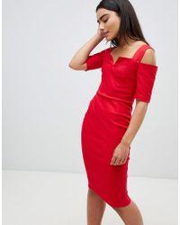 Vesper - Cold Shoulder Midi Dress - Lyst