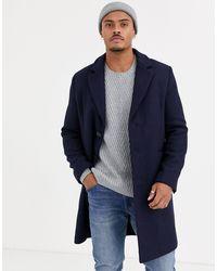 ASOS - Темно-синее Пальто С Добавлением Шерсти - Lyst