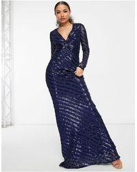 Goddiva Long Sleeve Fishtail Sequin Maxi Dress - Blue