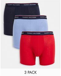 Tommy Hilfiger Набор Из 3 Удлиненных Боксеров-брифов Темно-синего/красного/голубого Цвета С Логотипом На Поясе -многоцветный - Синий