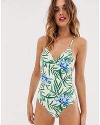 Y.A.S Costume da bagno scollato dietro con stampa tropicale - Blu