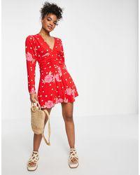 Free People Vestido corto con estampado floral y - Rojo