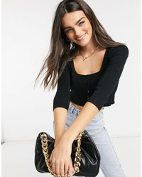 Stradivarius Button Down Knitted Top - Black