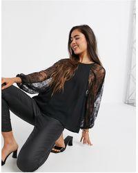 Mango Lace Sleeve Blouse - Black