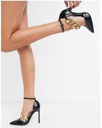 ASOS – Palma – e Schuhe mit hohem Absatz und Kettendetail - Schwarz
