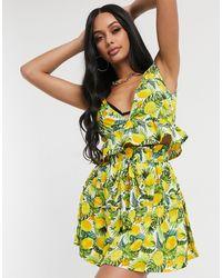 South Beach Комплект Из Топа С V-образным Вырезом И Ярусной Мини-юбки -мульти - Желтый