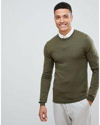 ASOS Muscle Fit Merino Wool Sweater - Green
