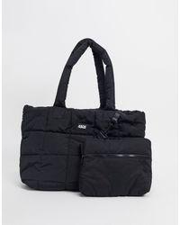 ASOS 4505 Bolso tote acolchado con bolsito interior - Negro