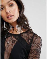 LoveRocks London - Lace & Leather Look Tie Up Choker - Lyst