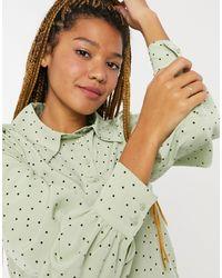 Monki Nala Recycled Dot Print Blouse - Green
