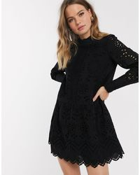 Vero Moda Broderie Smock Dress With High Neck - Black