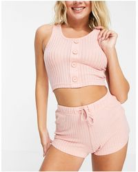 Brave Soul Naomi Rib Lounge Set With Singlet And Shorts - Pink