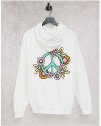 New Love Club Sudadera blanca con capucha y estampado - Blanco