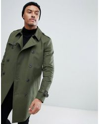 ASOS DESIGN - Shower Resistant Double Breasted Trench In Khaki - Lyst
