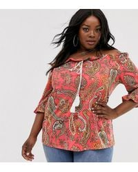 Simply Be - Bardot Top In Red Paisley - Lyst