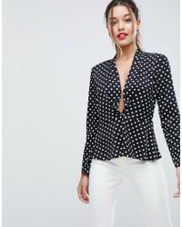 ASOS DESIGN - Waisted Plunge Top In Spot - Lyst
