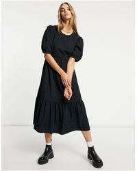 Warehouse Черное Ярусное Платье Миди Из Хлопка -черный Цвет