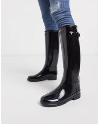 HUNTER Botas Wellington altas negras con acabado brillante Original Refined - Negro