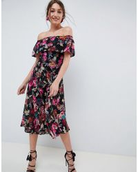 ASOS - Design Bardot Midi Dress In Dark Based Floral - Lyst