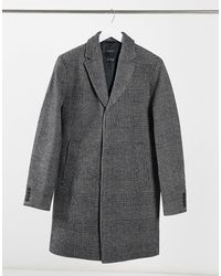 SELECTED Черное Клетчатое Пальто -черный