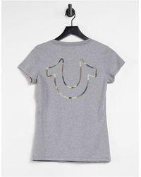 True Religion T-shirt avec imprimé fer à cheval camouflage - Gris