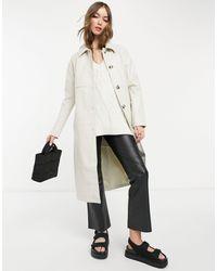 Vero Moda Trench-coat imitation cuir effet croco - Crème - Multicolore