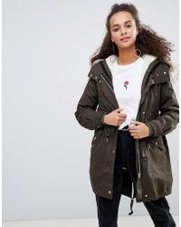 Bershka - Hooded Parka Coat In Khaki - Lyst